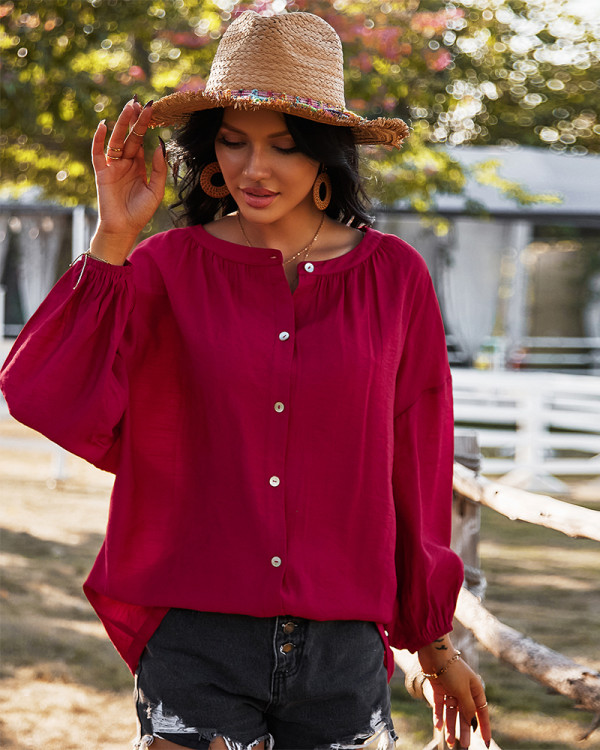 Spring Solid Color Long Sleeve Loose Blouse