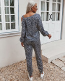 Conjunto de salón con pantalón a juego de dos piezas con estampado de leopardo