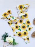 Traje de baño floral de manga corta de una pieza