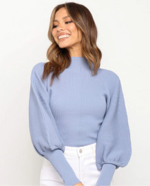Spring Puff Sleeve Pullover Sweater Crop Top