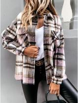 Casual Long Sleeve Plaid Print Blouse