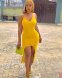 Vestido de tirantes irregulares de color sólido elegante de verano