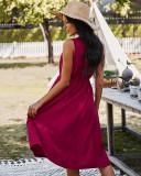 Vestido largo sin mangas casual de color sólido de verano