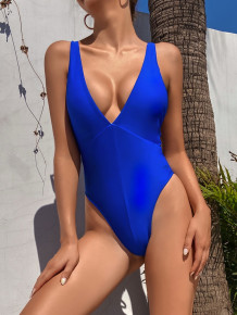 Maillot de bain sexy une pièce Deep-V bleu