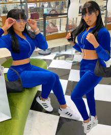 Casual Two Piece Matching Velvet Crop Top and Pants Tracksuit