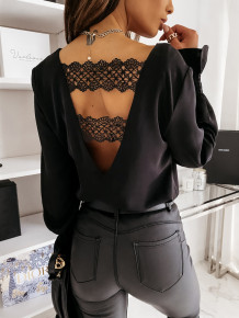 Long Sleeve Lace Patch Elegant Blouse