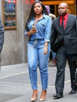 Lässiger blauer Langarm-Kordelzug-Jeans-Overall