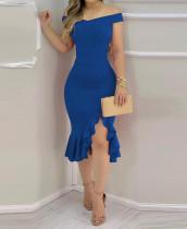Vestido de sirena irregular con hombros descubiertos sexy de fiesta azul de verano