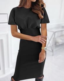 Sommer Schwarz Elegantes Midi-Kleid mit hoher Taille