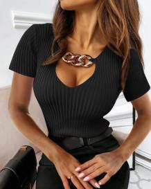 Nozioni di base in maglia sexy nera estiva