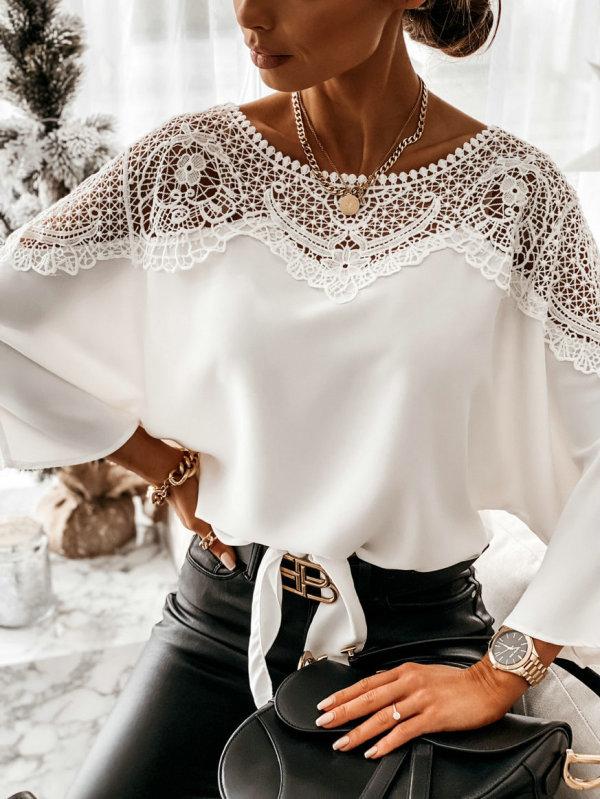 Blusa suelta con cuello en o superior de encaje de primavera