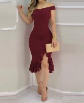 Vestido de sirena irregular con hombros descubiertos sexy de fiesta roja de verano