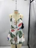 Vestido corto con cuello halter floral sexy de verano