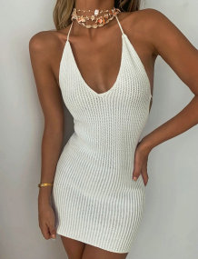 Sommer Sexy White Knit Neckholder Minikleid