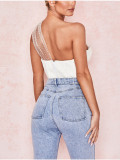 Party Sexy White Mesh Patch Un hombro Bustier Top