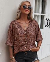 Sommer Kurzarm Leopard Bluse mit V-Ausschnitt