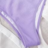 Traje de baño de cintura alta de color sólido simple de dos piezas