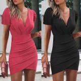 Mini vestido envuelto elegante de color sólido de fiesta