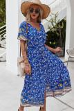 Vestido largo floral romántico con cuello en V de manga corta de verano