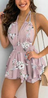Sommer Sexy Blumen Halfter Kurzes Kleid