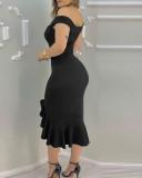 Fiesta sexy vestido de sirena irregular con hombros descubiertos