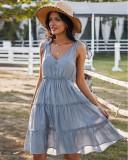 Vestido largo sin mangas con tirantes anudados y cuello en V de color sólido de verano