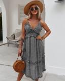 Vestido largo con correa con cuello en V floral romántico de verano