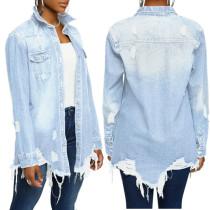 Blusa de mezclilla lavada de manga larga de primavera