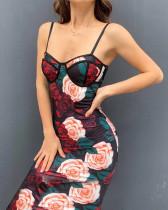 Vestido de tubo floral con tirantes sexy de fiesta