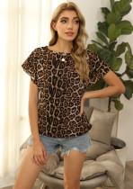 Sommer-Hemd mit Leopardenmuster und O-Ausschnitt