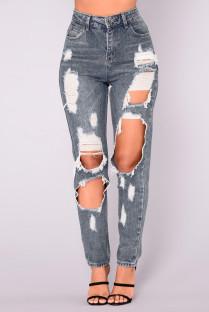 Jeans rasgados com cintura alta lavada de verão
