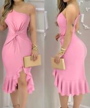 Party Sexy Pink One Shoulder Unregelmäßiges Meerjungfrau-Kleid
