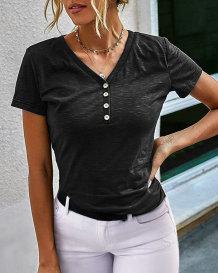 Sommerschwarzes kurzärmliges normales Hemd mit V-Ausschnitt