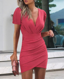 Party Solid Color Elegant Wrapped Mini Dress