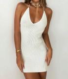 Mini vestido halter de punto blanco sexy de verano