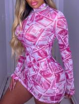 Feestelijke sexy bodycon-jurk met print en volledige mouwen