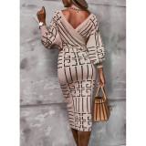 Autumn Elegant Wrap Long Sleeve Midi Dress