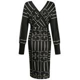 Herfst elegante midi-jurk met overslag en lange mouwen