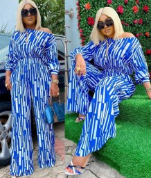 Plus Size White and Blue Stripes Formal Loose Jumpsuit
