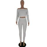 Conjunto de pantalón y top corto a juego de dos piezas con hombros descubiertos