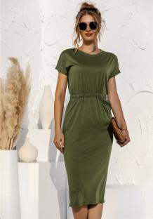 Sommer lässig Solid Plain High Waist Long Shirt Kleid