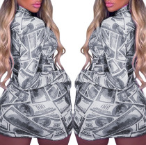 Party Sexy Print Money Bodycon Dress with Full Sleeves