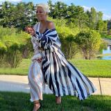 Plus Size Casual Wide Stripes Lange Bluse