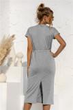 Vestido de camisa larga de cintura alta liso informal de verano