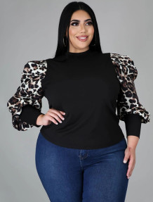 Plus Size Black Basic Top with Print Puff Sleeves