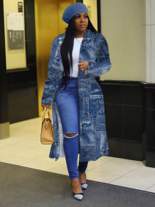 Africa Print Blue Long Coat with Full Sleeves