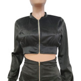 Conjunto de chaqueta corta con cremallera liso liso casual de primavera y minifalda de cintura alta