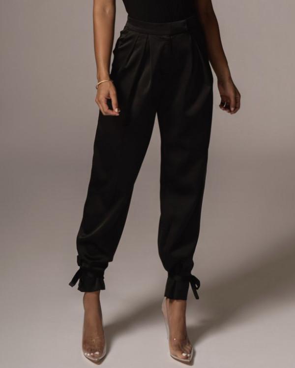 Pantalones de dragón formales lisos lisos de cintura alta