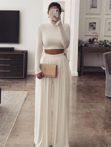 Formal Solid Plain Long Sleeve Crop Top and High Waist Wide Pants Set