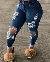 Jeans rasgados de corte sexy azul oscuro